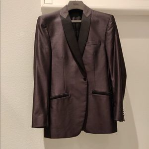 Versace gray tuxedo shawl collar blazer
